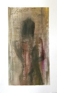 kvinna framför vägg